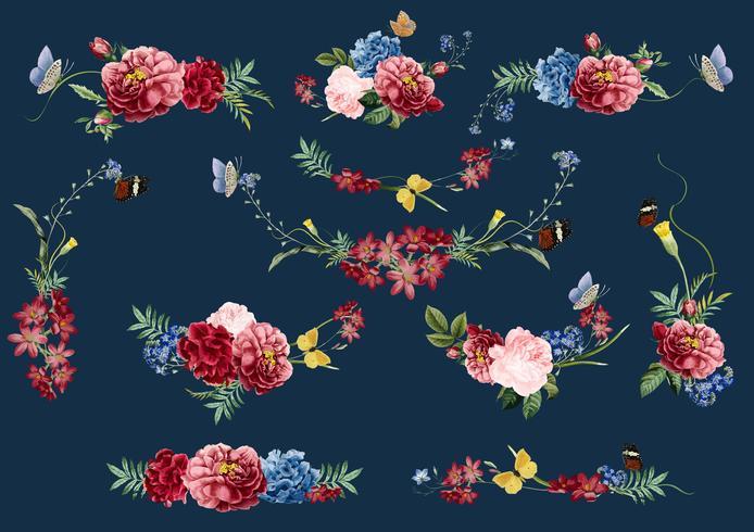 Flores de mão desenhada padrão floral colorido