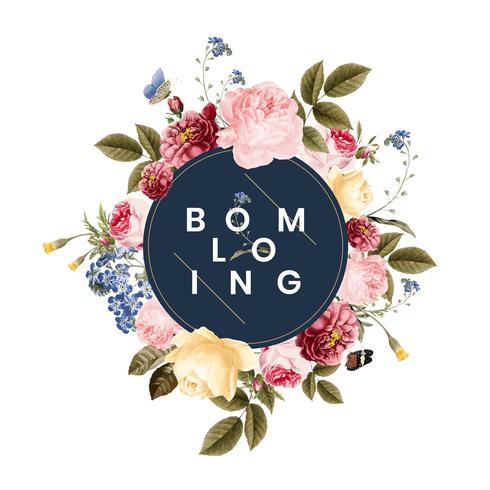 Blühende Blumenfeldkartenillustration