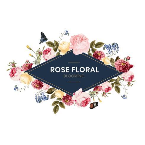 Blühende rosafarbene Blumenfeldkarte