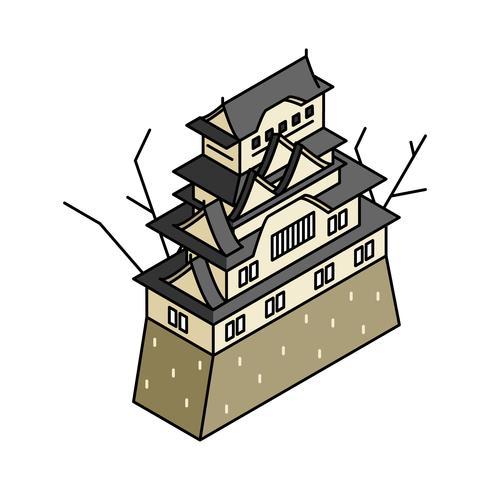 Illustrerad av Himeji slott i Japan