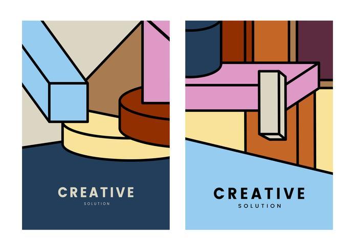 Cartel de geometría colorida solución creativa