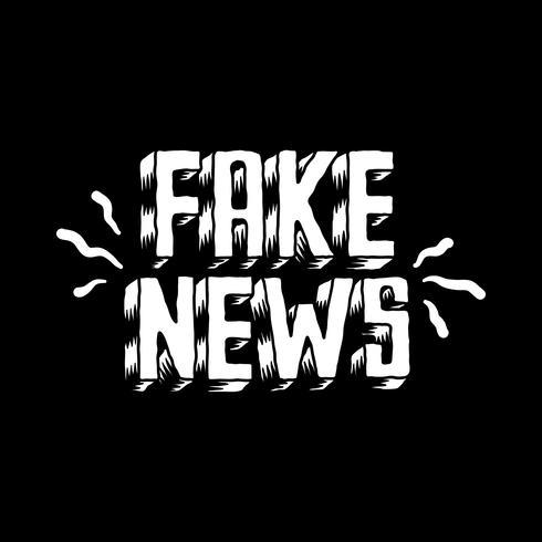 Falsa notícia palavra tipografia ilustração