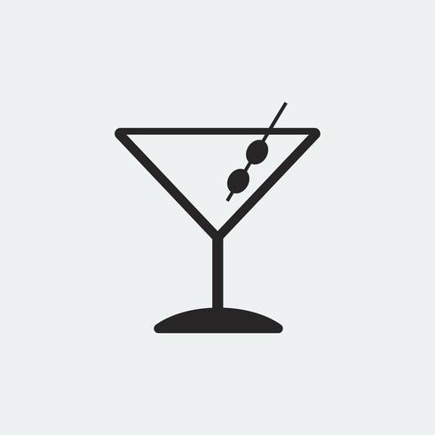 Martini cocktails glass icon illustration