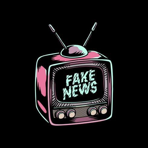 Gefälschte Nachrichten auf Fernsehschirm der alten Schule