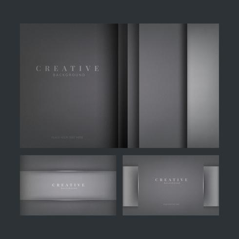 Set of abstract creative background designs in dark gray