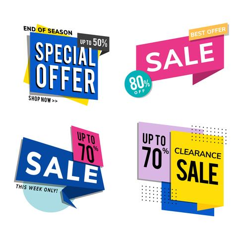 Insieme di vettore di pubblicità di promozione di vendita