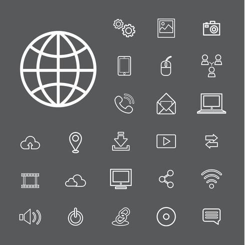 Illustration du jeu d'icônes de technologie d'appareils numériques