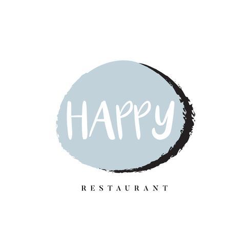 Vettore di marchio logo ristorante felice
