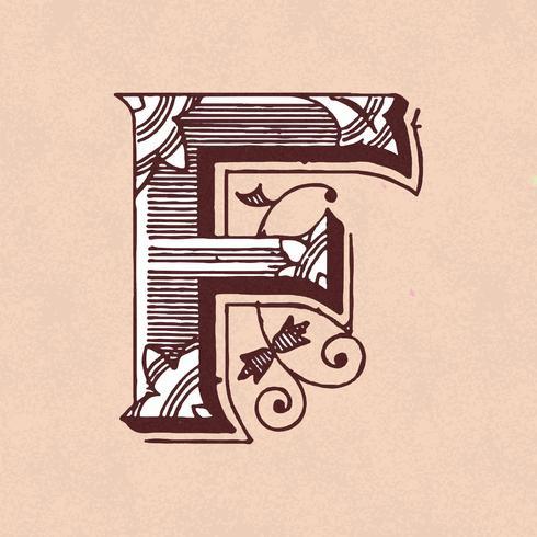 Stile di tipografia vintage lettera maiuscola F