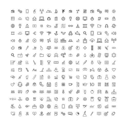 Illustration blandade ikoner uppsättning vektor