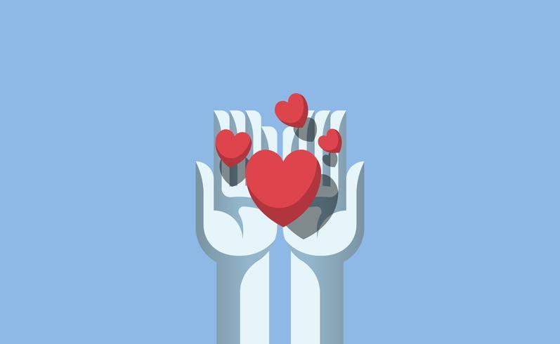 Manos compartiendo la ilustración de amor.