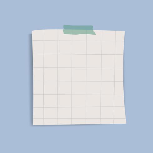 En blanco cuadrícula cuadrada recordatorio nota vector