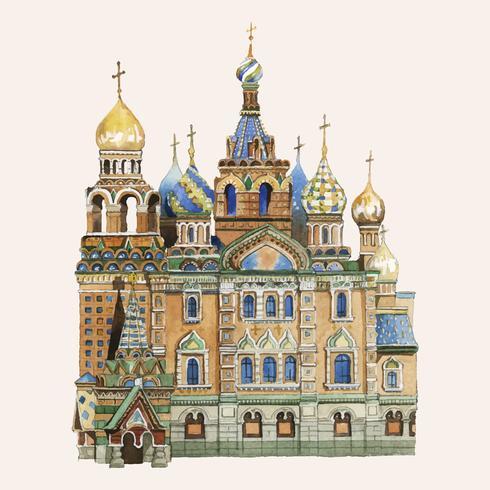 Catedral de São Basílio pintada por aquarela