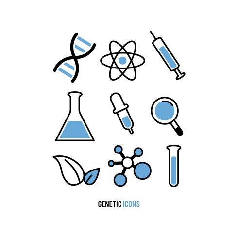 Set van genetisch experiment pictogrammen