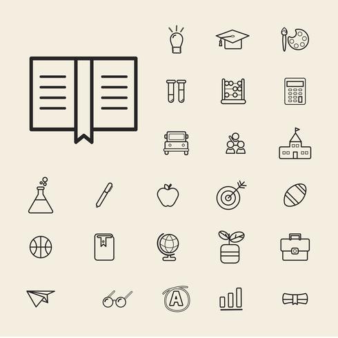 Illustration du jeu d'icônes de l'éducation
