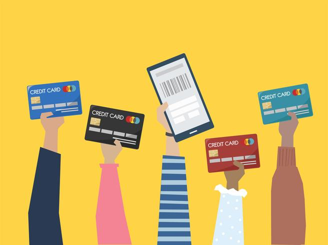 People holding credit cards illustration