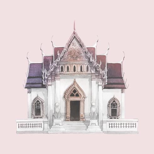 Templo de Wat Benjamabhopit pintado por acuarela.