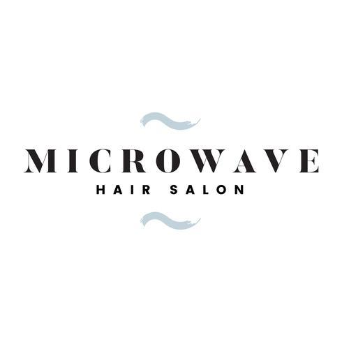 Vettore di logo del salone di capelli della microonda