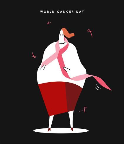 Kvinna och rosa band för världscancer dag koncept