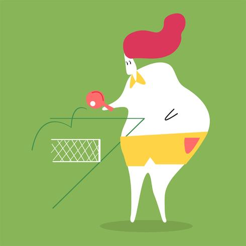 Character illustration of a woman playing ping pong
