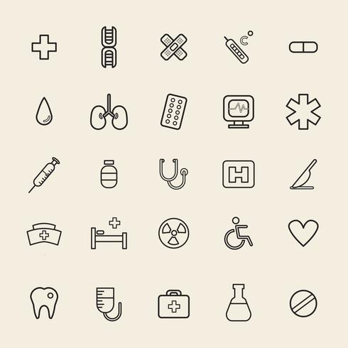 Illustration of hospital icons set
