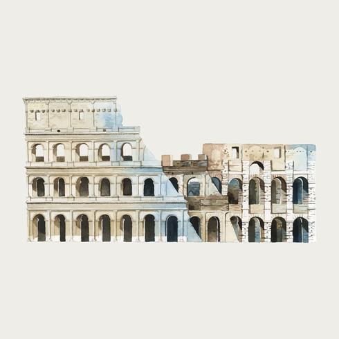 O Coliseu de Roma em Roma ilustração em aquarela