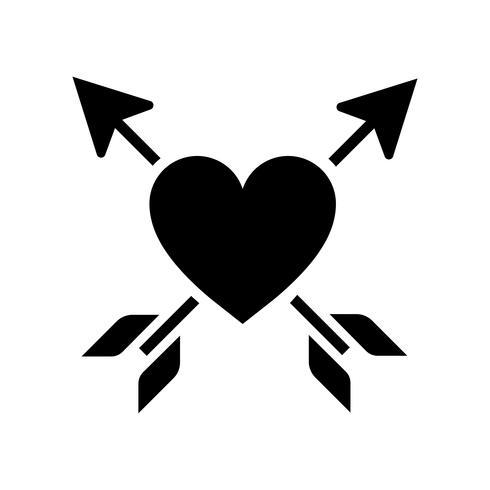 Coração perfurado com ilustração de duas setas