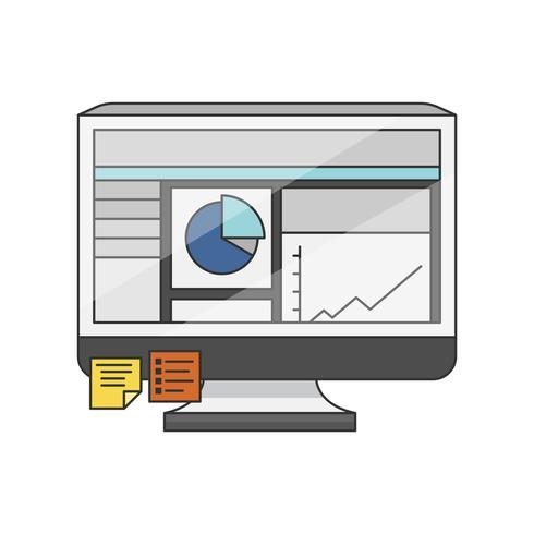 Illustration av en bildskärm med programvara på skrivbordet