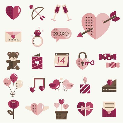 Valentines pictogrammen instellen vector
