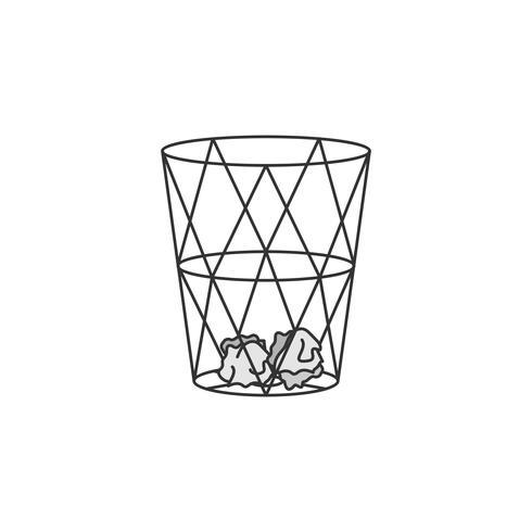 Illustrazione di carta bin o bidone della spazzatura