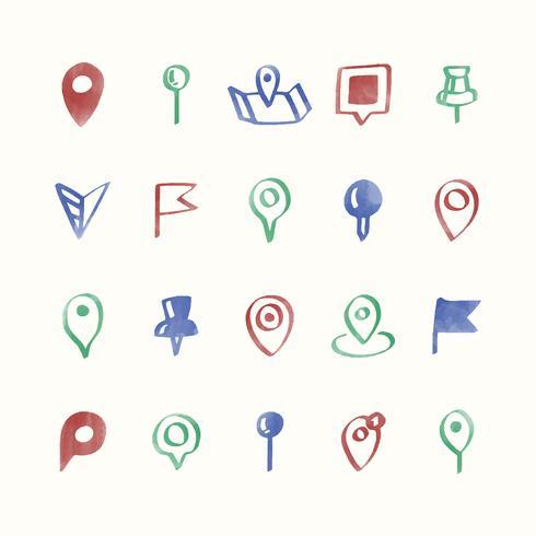 Conjunto de ilustración de iconos de pin de mapa