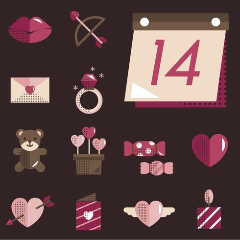 valentines icons set vector