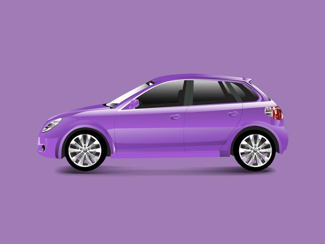 Automobile viola della berlina in un vettore porpora del fondo