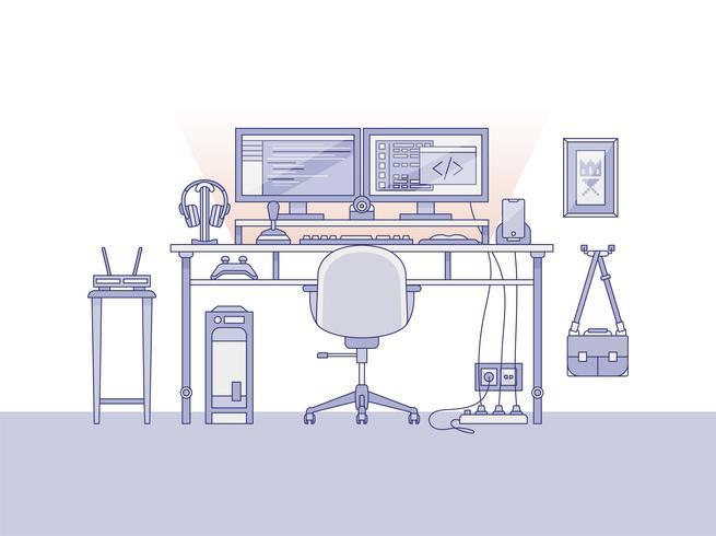 Espacio de trabajo de un ingeniero de audio o un productor musical.