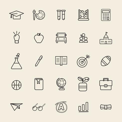 Illustrazione delle icone di educazione impostate