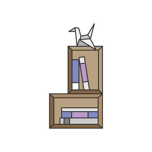 Illustration d'origami et une étagère