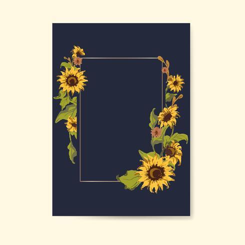 Leere Sonnenblume Kartenvorlage
