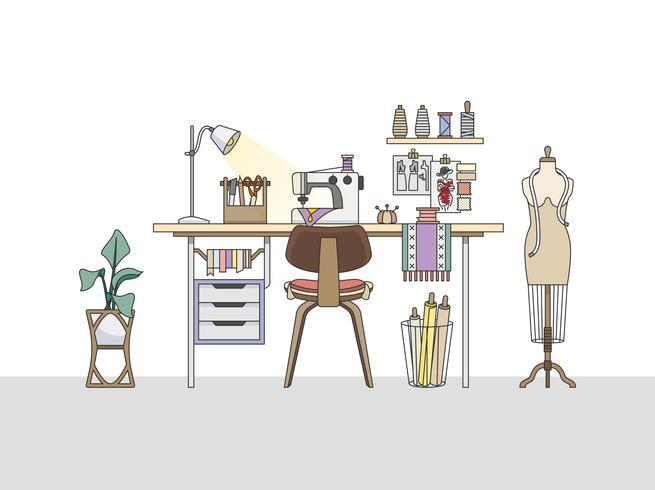 Espace de travail d'un créateur de mode ou d'un tailleur