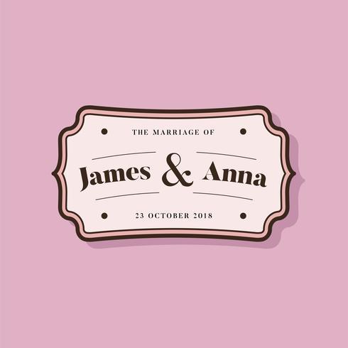 Emblema de convite de casamento de estilo clássico