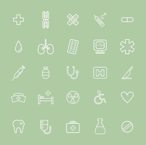 Ilustração, de, hospitalar, ícones, jogo