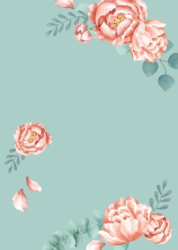 Blommigt tema kort med grön bakgrund