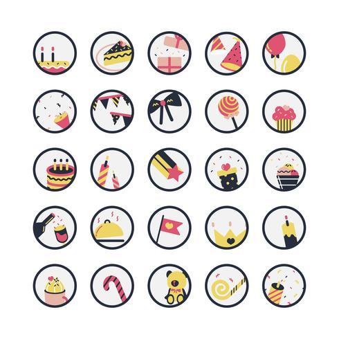 Illustration ensemble d'icônes d'anniversaire