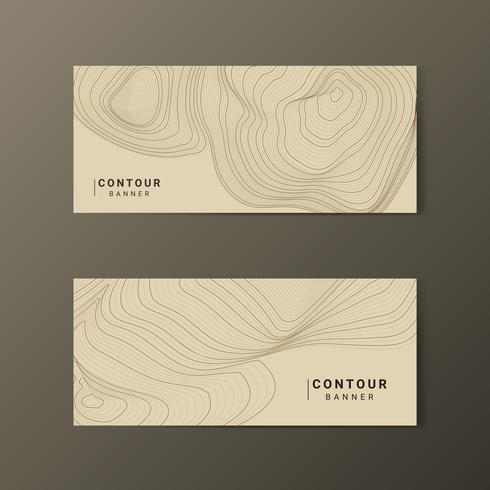 Collection de lignes de contour abstraites marron