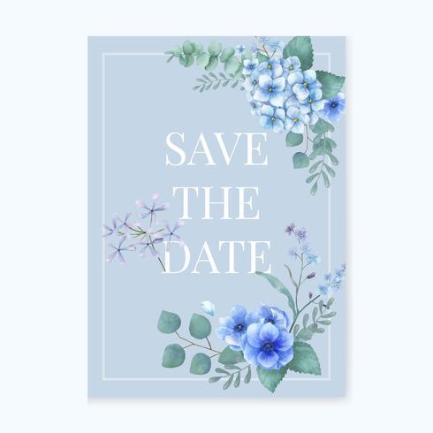 Tarjeta de felicitación azul temática con hojas en miniatura.