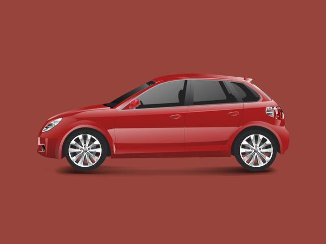 Red hatchback car in a red background vector