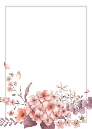 Tarjeta de felicitaciones con tema rosado y floral.