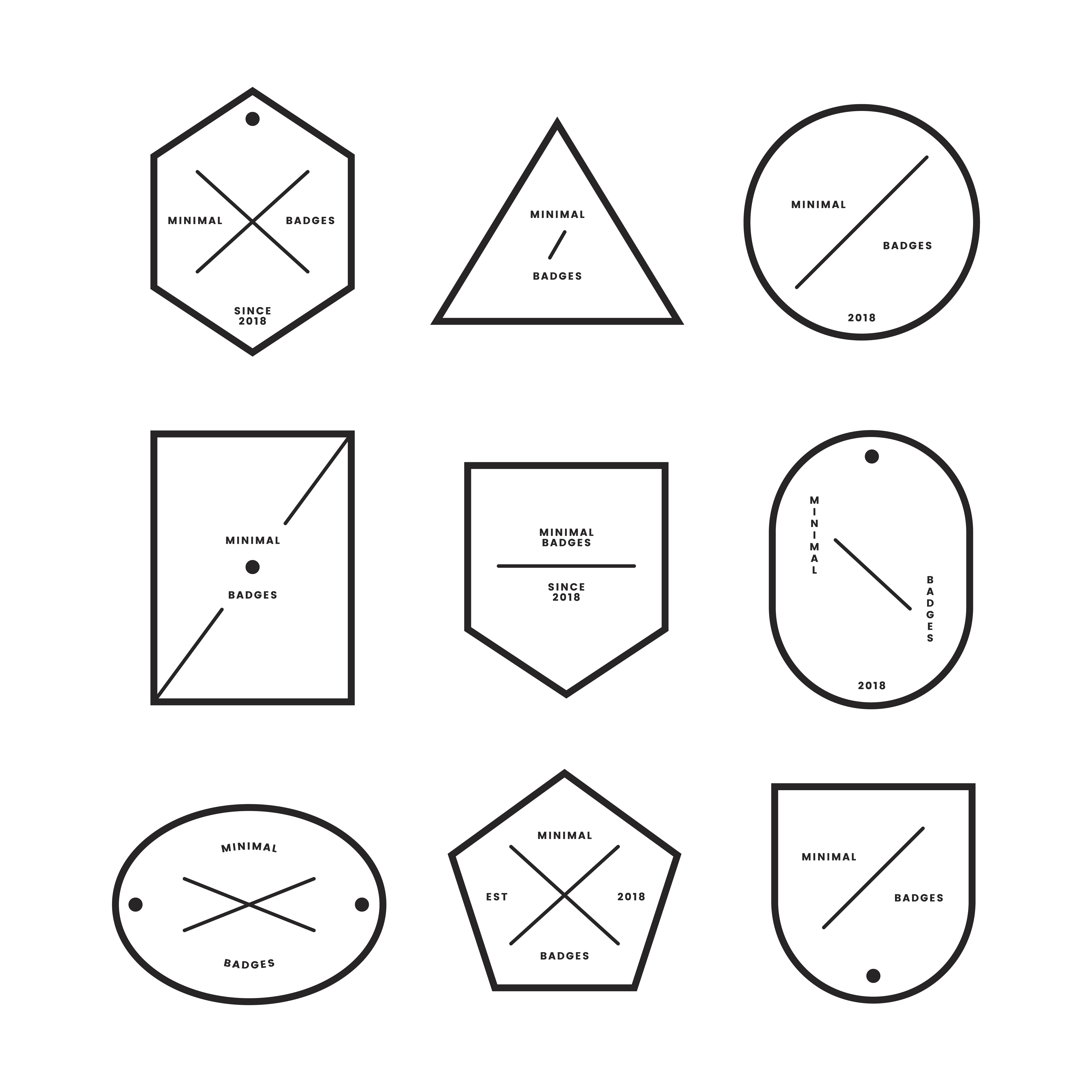 Collection Of Minimal Style Badges