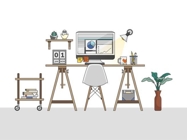 Illustration de l'espace de travail du bureau à domicile