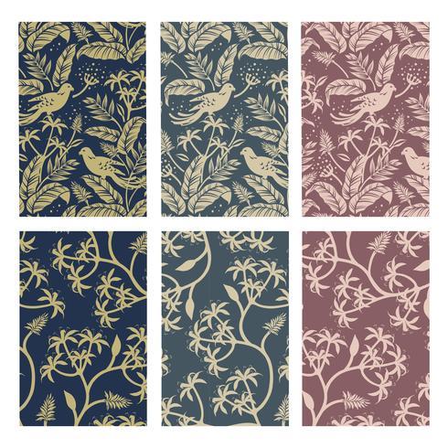 Conjunto de design de padrão de planta de natureza