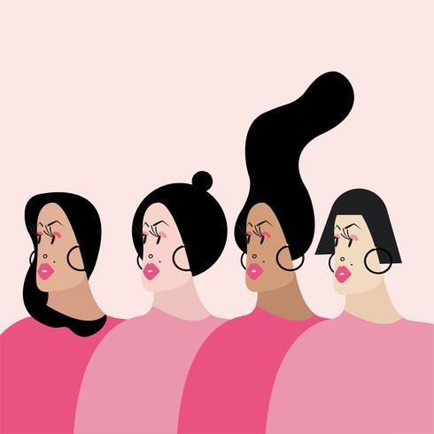 Femmes avec diverses coiffures vector illustration